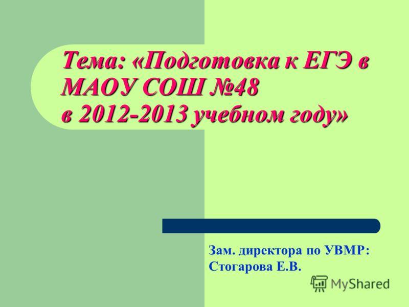 Тема: «Подготовка к ЕГЭ в МАОУ СОШ 48 в 2012-2013 учебном году» Зам. директора по УВМР: Стогарова Е.В.