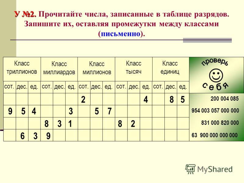 У 2. У 2. Прочитайте числа, записанные в таблице разрядов. Запишите их, оставляя промежутки между классами (письменно). 200 004 085 954 003 057 000 000 831 000 820 000 63 900 000 000 000