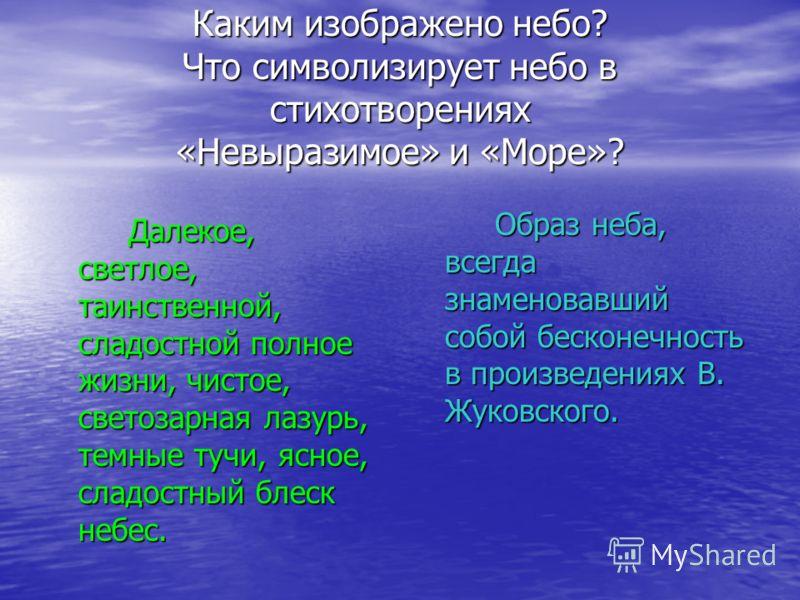 Каким изображено небо? Что символизирует небо в стихотворениях «Невыразимое» и «Море»? Далекое, светлое, таинственной, сладостной полное жизни, чистое, светозарная лазурь, темные тучи, ясное, сладостный блеск небес. Образ неба, всегда знаменовавший с