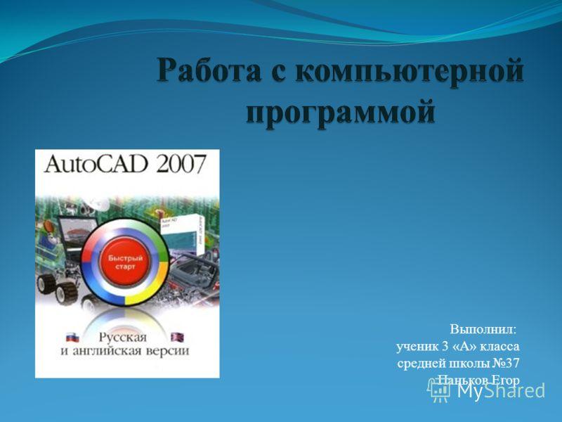 Выполнил: ученик 3 «А» класса средней школы 37 Паньков Егор