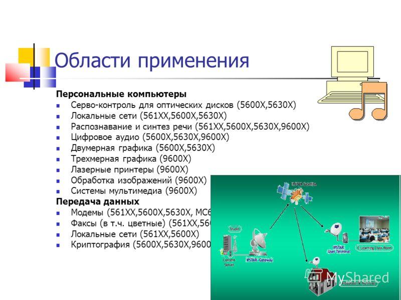 Области применения Персональные компьютеры Серво-контроль для оптических дисков (5600Х,5630X) Локальные сети (561ХХ,5600Х,5630X) Распознавание и синтез речи (561ХХ,5600Х,5630X,9600Х) Цифровое аудио (5600Х,5630X,9600Х) Двумерная графика (5600Х,5630X)