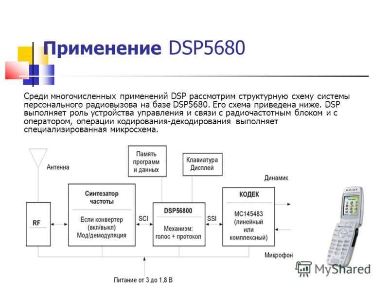 Применение DSP5680 Среди многочисленных применений DSP рассмотрим структурную схему системы персонального радиовызова на базе DSP5680. Его схема приведена ниже. DSP выполняет роль устройства управления и связи с радиочастотным блоком и с оператором,