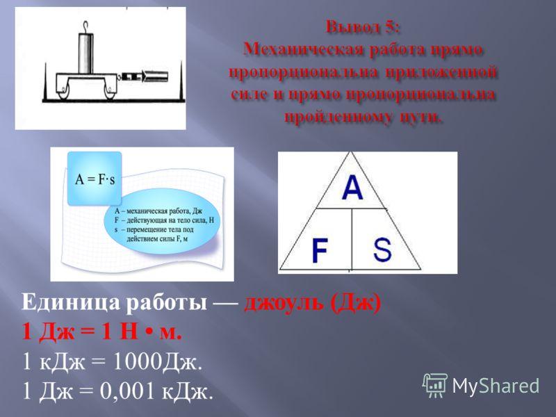 Вывод 5: Механическая работа прямо пропорциональна приложенной силе и прямо пропорциональна пройденному пути. Единица работы джоуль ( Дж ) 1 Дж = 1 Н м. 1 кДж = 1000 Дж. 1 Дж = 0,001 кДж.