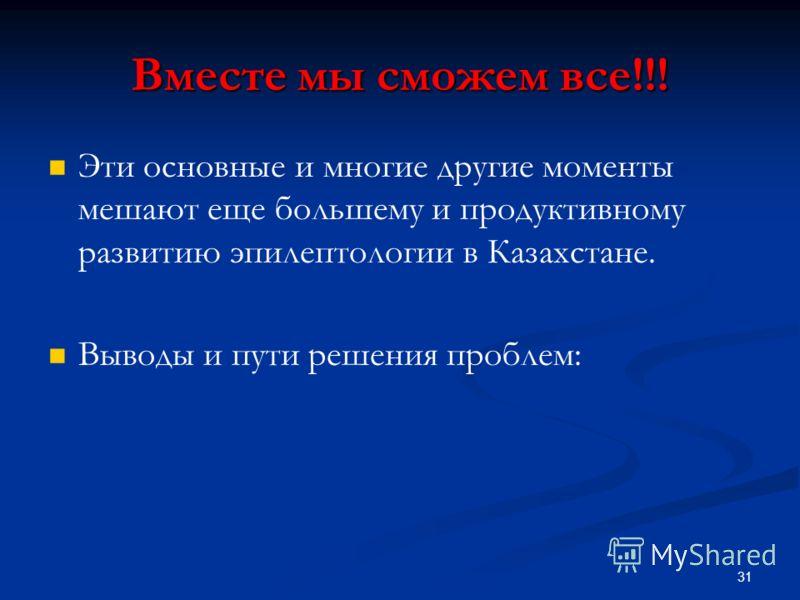 Вместе мы сможем все!!! Эти основные и многие другие моменты мешают еще большему и продуктивному развитию эпилептологии в Казахстане. Выводы и пути решения проблем: 31