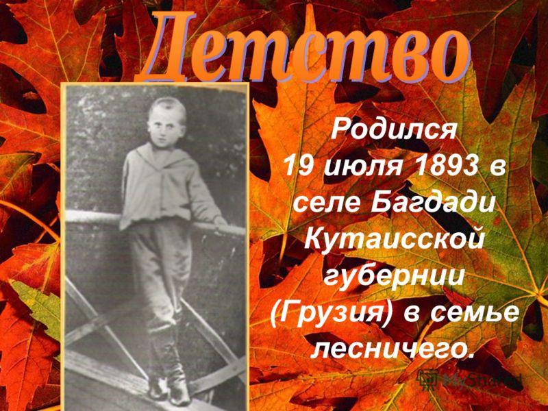 Родился 19 июля 1893 в селе Багдади Кутаисской губернии (Грузия) в семье лесничего.