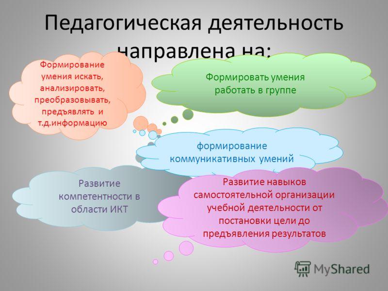 Педагогическая деятельность направлена на: Развитие компетентности в области ИКТ Формировать умения работать в группе Формирование умения искать, анализировать, преобразовывать, предъявлять и т.д.информацию формирование коммуникативных умений Развити