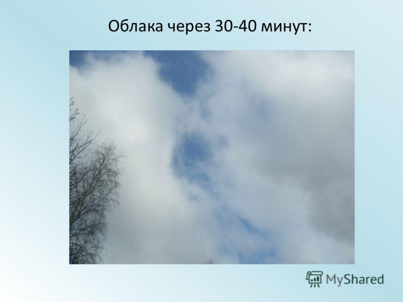 Облака через 30-40 минут: