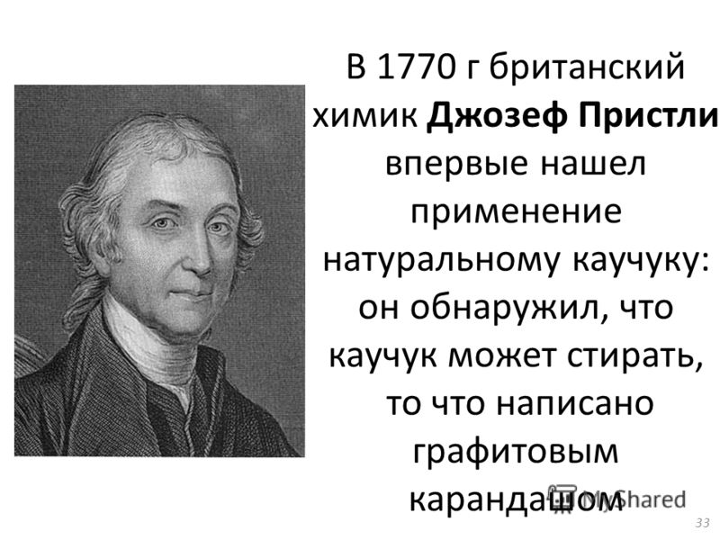 В 1770 г британский химик Джозеф Пристли впервые нашел применение натуральному каучуку: он обнаружил, что каучук может стирать, то что написано графитовым карандашом 33