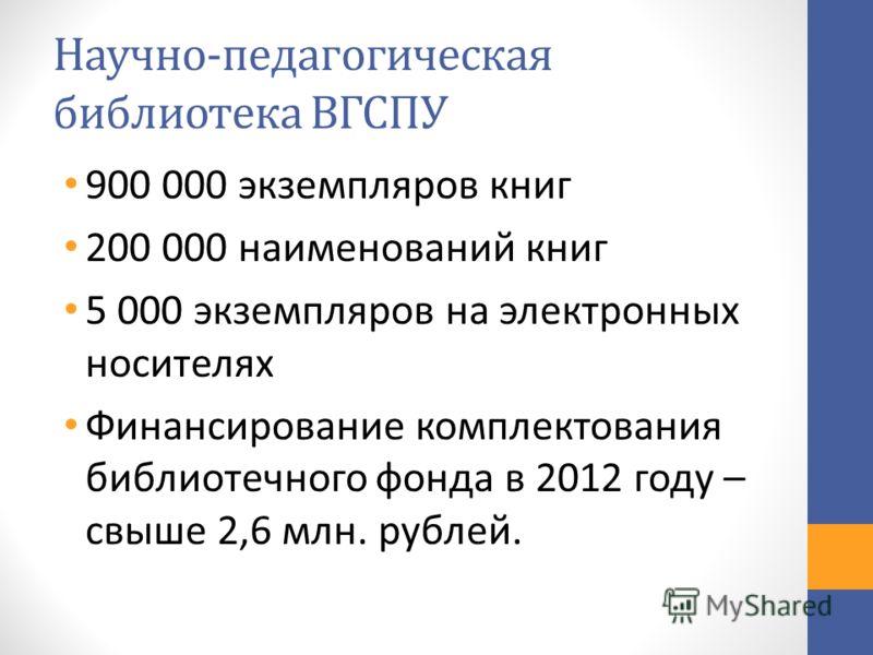 Научно-педагогическая библиотека ВГСПУ 900 000 экземпляров книг 200 000 наименований книг 5 000 экземпляров на электронных носителях Финансирование комплектования библиотечного фонда в 2012 году – свыше 2,6 млн. рублей.