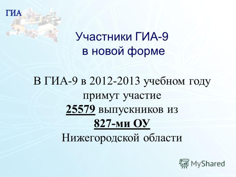 12 Участники ГИА-9 в новой форме В ГИА-9 в 2012-2013 учебном году примут участие 25579 выпускников из 827-ми ОУ Нижегородской области