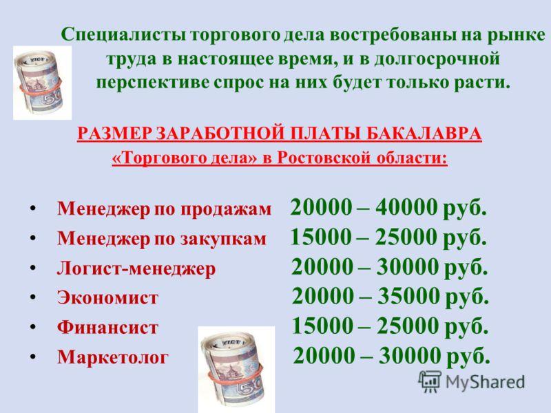 Специалисты торгового дела востребованы на рынке труда в настоящее время, и в долгосрочной перспективе спрос на них будет только расти. РАЗМЕР ЗАРАБОТНОЙ ПЛАТЫ БАКАЛАВРА «Торгового дела» в Ростовской области: Менеджер по продажам 20000 – 40000 руб. М