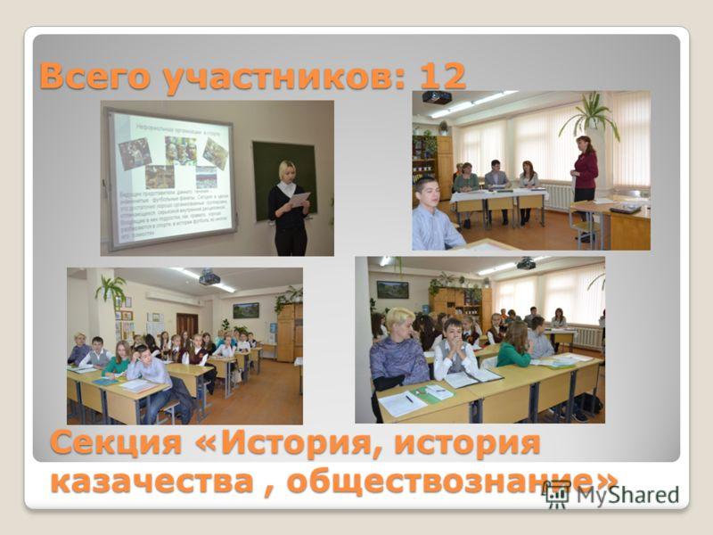 Секция «История, история казачества, обществознание» Всего участников: 12