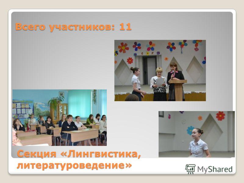 Секция «Лингвистика, литературоведение» Всего участников: 11