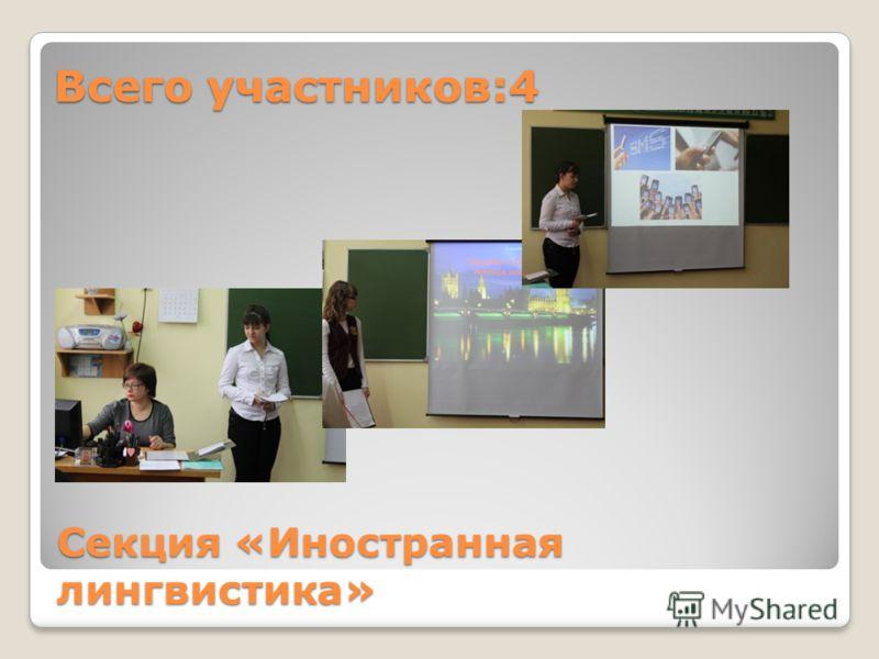 Секция «Иностранная лингвистика» Всего участников:4