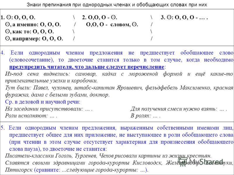1. ʘ : О, О, О. \ 2. О,О, О - ʘ. \ 3. ʘ : О, О, О - …. ʘ, а именно: О, О, О. / О,О, О - словом, ʘ. / ʘ, как то: О, О, О. \ \ ʘ, например: О, О, О. / / 4. Если однородным членам предложения не предшествует обобщающее слово (словосочетание), то двоеточ