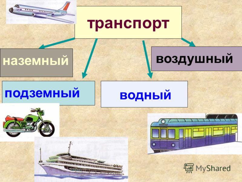 транспорт наземный подземный водный воздушный