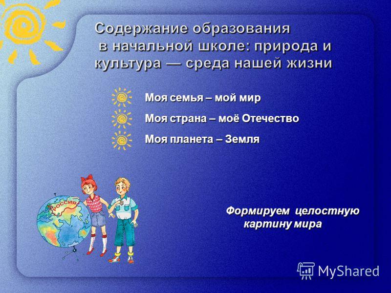 8 Моя семья – мой мир Моя страна – моё Отечество Моя планета – Земля Формируем целостную картину мира