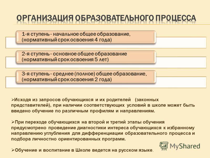 1-я ступень - начальное общее образование, (нормативный срок освоения 4 года) 2-я ступень - основное общее образование (нормативный срок освоения 5 лет) 3-я ступень - среднее (полное) общее образование, (нормативный срок освоения 2 года) Исходя из за