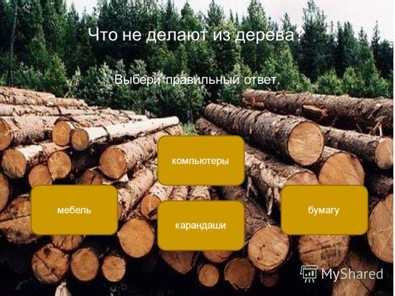 Что не делают из дерева? Выбери правильный ответ. компьютеры мебельбумагу карандаши