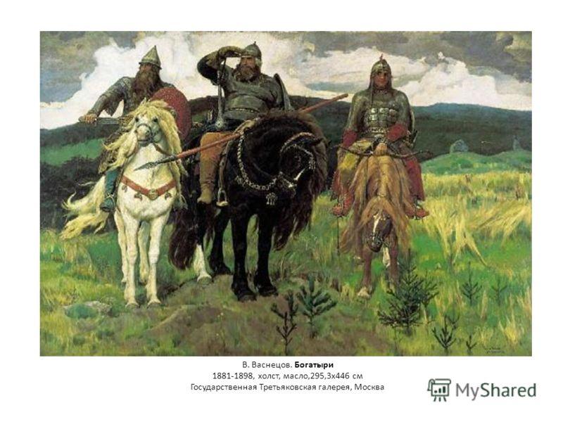 В. Васнецов. Богатыри 1881-1898, холст, масло,295,3x446 см Государственная Третьяковская галерея, Москва