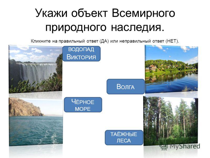 Укажи объект Всемирного природного наследия. Кликните на правильный ответ (ДА) или неправильный ответ (НЕТ). ВОДОПАД В ИКТОРИЯ В ОЛГА Ч ЁРНОЕ МОРЕ ТАЁЖНЫЕ ЛЕСА