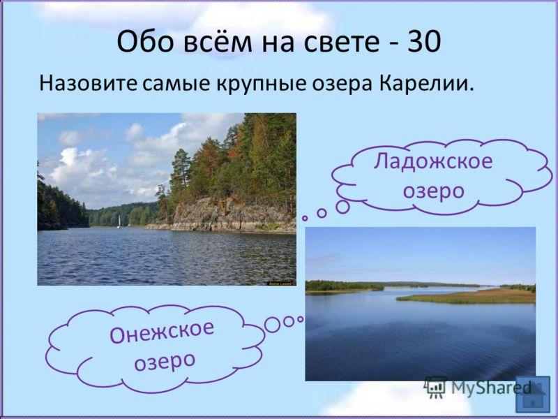 Обо всём на свете - 30 Назовите самые крупные озера Карелии. Ладожское озеро Онежское озеро