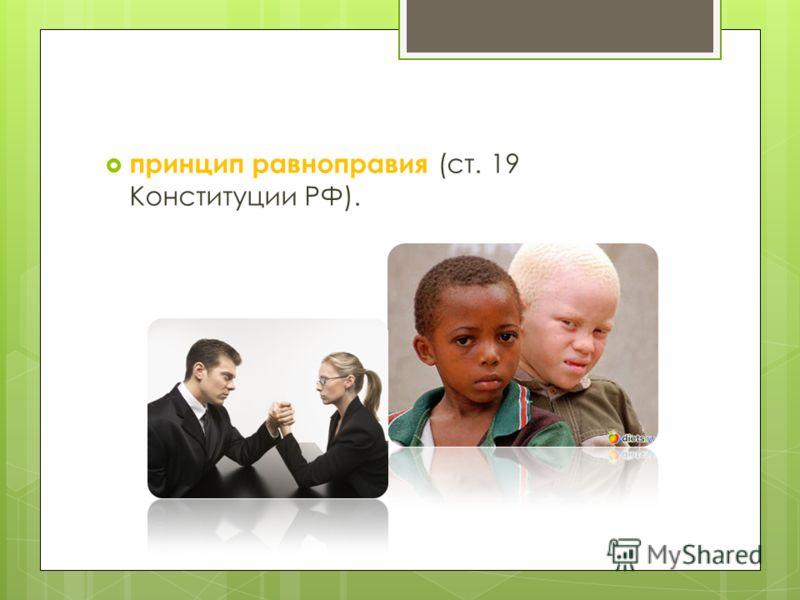 принцип равноправия (ст. 19 Конституции РФ).