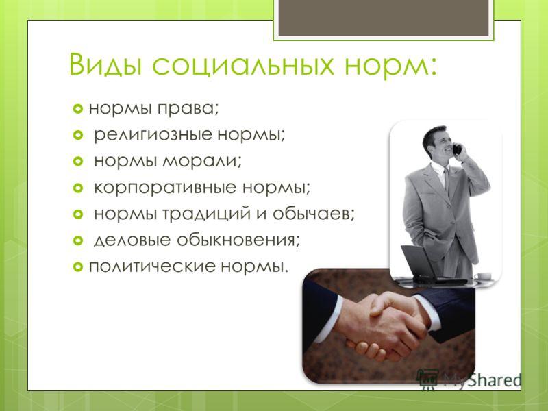 Виды социальных норм: нормы права; религиозные нормы; нормы морали; корпоративные нормы; нормы традиций и обычаев; деловые обыкновения; политические нормы.