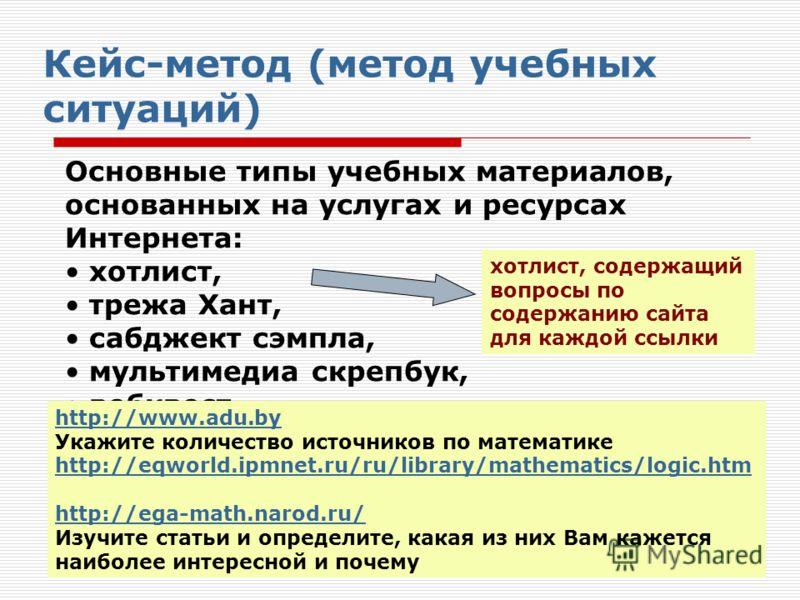 Основные типы учебных материалов, основанных на услугах и ресурсах Интернета: хотлист, трежа Хант, сабджект сэмпла, мультимедиа скрепбук, вебквест. Кейс-метод (метод учебных ситуаций) хотлист, содержащий вопросы по содержанию сайта для каждой ссылки