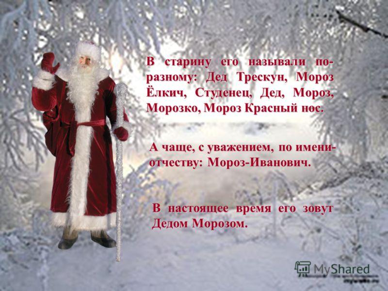 Деду Морозу очень много лет. Поначалу это был дух холода. В те времена люди не ждали от предка нынешнего Деда Мороза подарков, а дарили их ему сами, чтобы задобрить Мороза, чтобы его дух не злился, не насылал лютый холод, не мешал охоте. Затем его пр