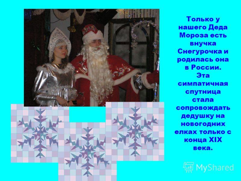 Только у нашего Деда Мороза есть внучка Снегурочка и родилась она в России. Эта симпатичная спутница стала сопровождать дедушку на новогодних елках только с конца XIX века.