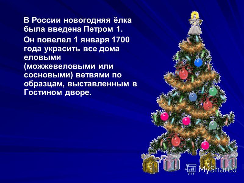 В России новогодняя ёлка была введена Петром 1. Он повелел 1 января 1700 года украсить все дома еловыми (можжевеловыми или сосновыми) ветвями по образцам, выставленным в Гостином дворе.