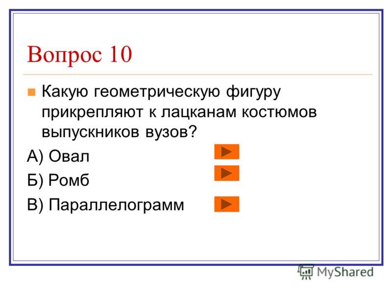 Вопрос 9 В какой объёмной геометрической фигуре всегда можно найти для себя награду? А) В конусе Б) В кубе В) В призме