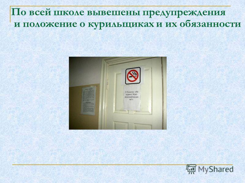 По всей школе вывешены предупреждения и положение о курильщиках и их обязанности