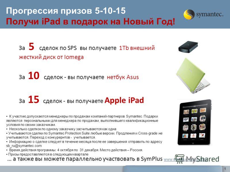 1 Прогрессия призов 5-10-15 Получи iPad в подарок на Новый Год! За 5 сделок по SPS вы получаете 1Tb внешний жесткий диск от Iomega За 10 сделок - вы получаете нетбук Asus За 15 сделок - вы получаете Apple iPad К участию допускаются менеджеры по прода