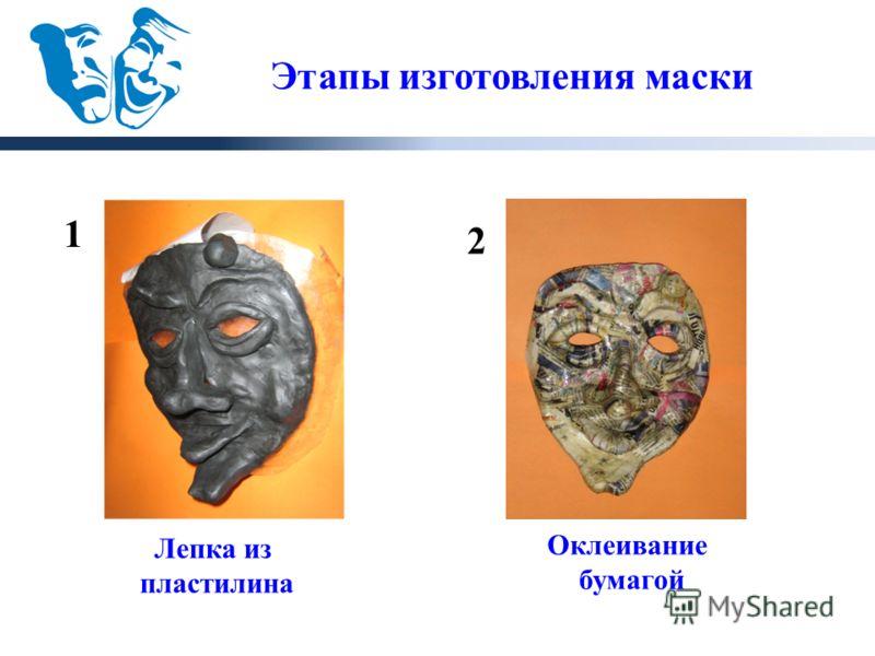 1 2 Этапы изготовления маски Лепка из пластилина Оклеивание бумагой