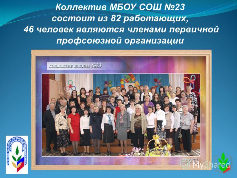 Коллектив МБОУ СОШ 23 состоит из 82 работающих, 46 человек являются членами первичной профсоюзной организации
