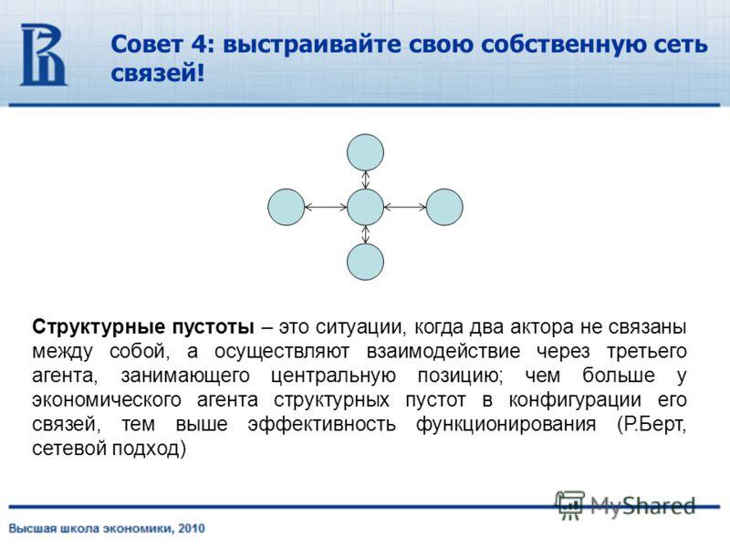 Совет 4: выстраивайте свою собственную сеть связей! Структурные пустоты – это ситуации, когда два актора не связаны между собой, а осуществляют взаимодействие через третьего агента, занимающего центральную позицию; чем больше у экономического агента