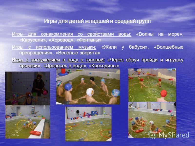 Игры для детей младшей и средней групп Игры для ознакомления со свойствами воды: «Волны на море», «Карусели», «Хоровод», «Фонтаны» Игры с использованием музыки: «Жили у бабуси», «Волшебные превращения», «Веселые зверята» Игры с погружением в воду с г
