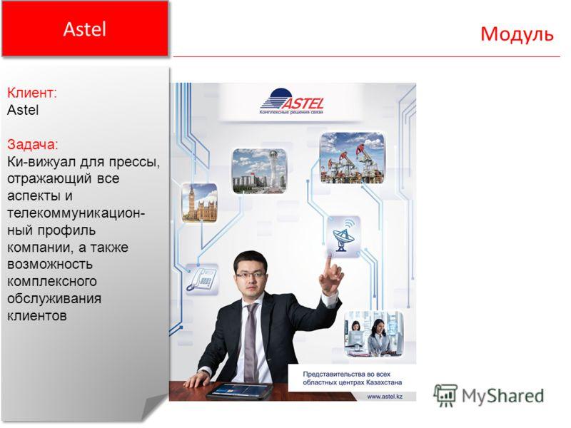 Astel Модуль Клиент: Astel Задача: Ки-вижуал для прессы, отражающий все аспекты и телекоммуникацион- ный профиль компании, а также возможность комплексного обслуживания клиентов Клиент: Astel Задача: Ки-вижуал для прессы, отражающий все аспекты и тел