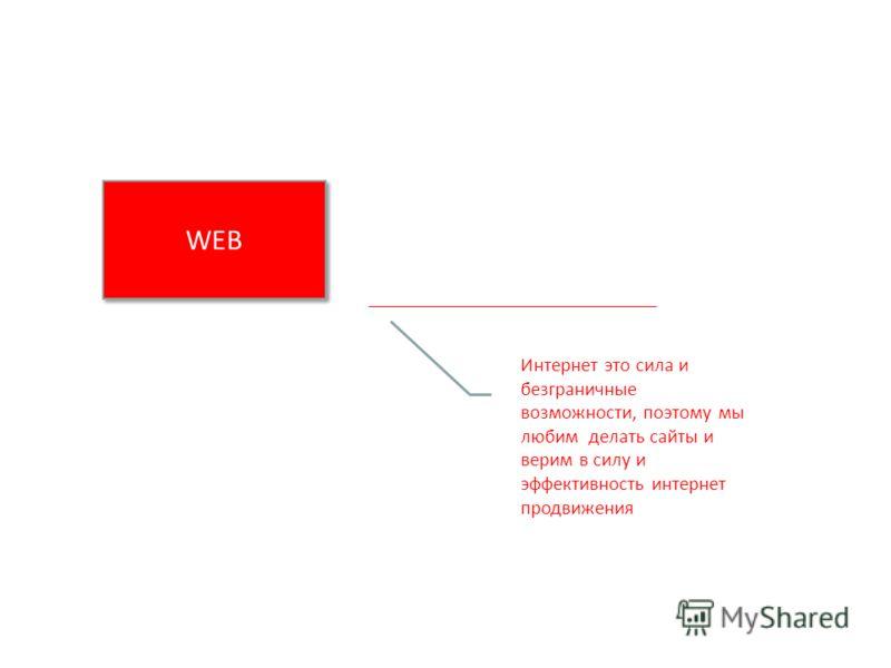 WEB Интернет это сила и безграничные возможности, поэтому мы любим делать сайты и верим в силу и эффективность интернет продвижения