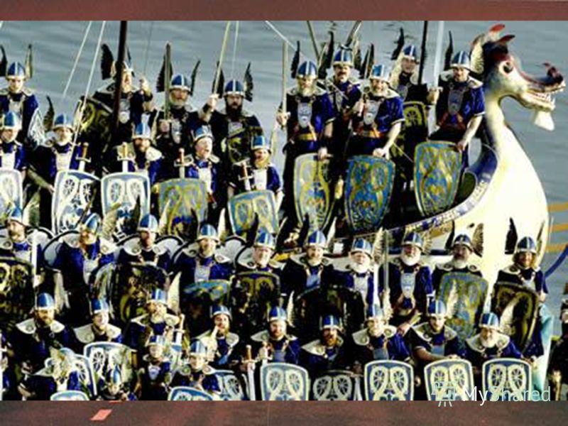 В 9 веке на Шетландские острова, что рядом с побережьем Шотландии, напали викинги. Это событие отмечают каждую зиму жители города Лервик (Lerwick), стоящего на одном из островов. Они делают модель корабля викингов (с драконом на носу), наряжаются в н