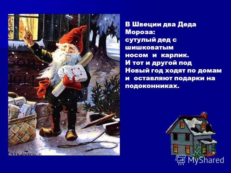 В Швеции два Деда Мороза: сутулый дед с шишковатым носом и карлик. И тот и другой под Новый год ходят по домам и оставляют подарки на подоконниках.
