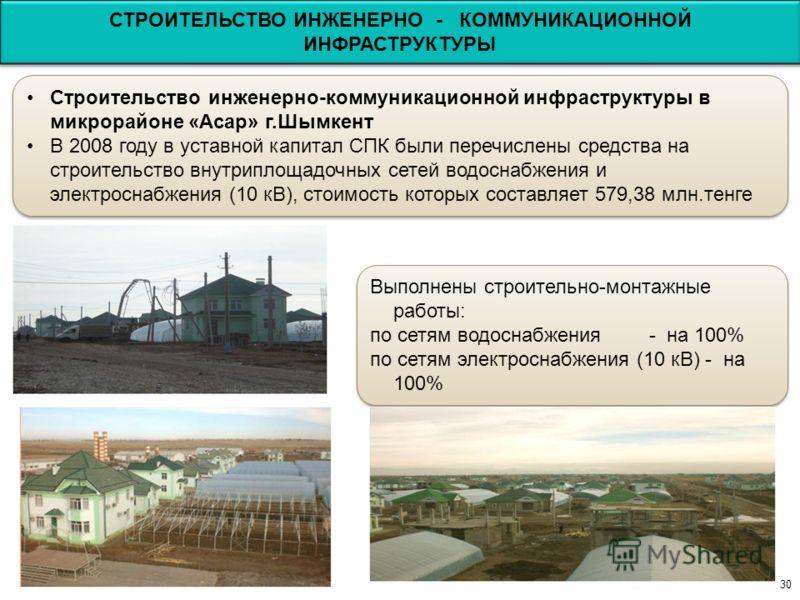 30 Строительство инженерно-коммуникационной инфраструктуры в микрорайоне «Асар» г.Шымкент В 2008 году в уставной капитал СПК были перечислены средства на строительство внутриплощадочных сетей водоснабжения и электроснабжения (10 кВ), стоимость которы