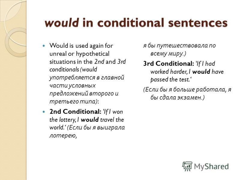 would in conditional sentences Would is used again for unreal or hypothetical situations in the 2nd and 3rd conditionals (would употребляется в главной части условных предложений второго и третьего типа ): 2nd Conditional: 'If I won the lottery, I wo