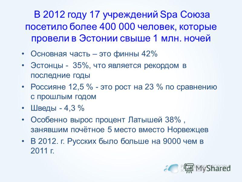 В 2012 году 17 учреждений Spa Союза посетило более 400 000 человек, которые провели в Эстонии свыше 1 млн. ночей Основная часть – это финны 42% Эстонцы - 35%, что является рекордом в последние годы Россияне 12,5 % - это рост на 23 % по сравнению с пр