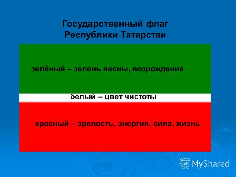 Государственный флаг Республики Татарстан красный – зрелость, энергия, сила, жизнь зелёный – зелень весны, возрождение белый – цвет чистоты