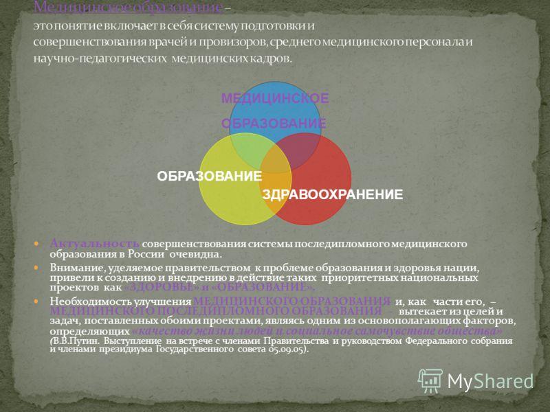 Актуальность совершенствования системы последипломного медицинского образования в России очевидна. Внимание, уделяемое правительством к проблеме образования и здоровья нации, привели к созданию и внедрению в действие таких приоритетных национальных п
