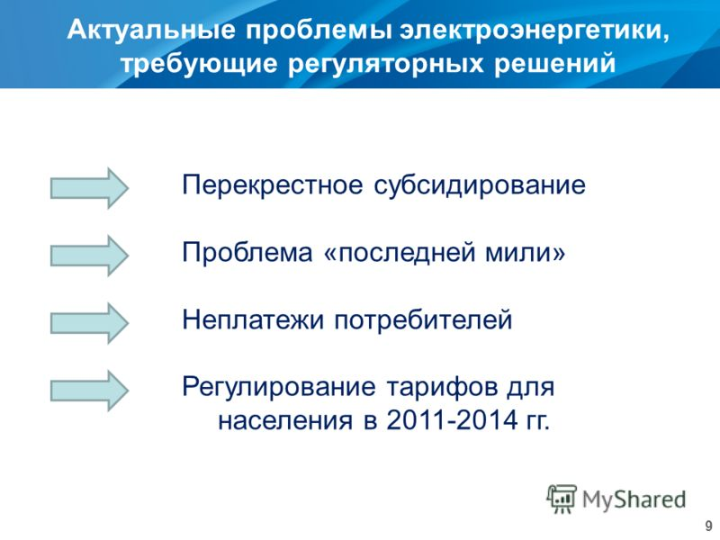 Актуальные проблемы электроэнергетики, требующие регуляторных решений 9 Перекрестное субсидирование Проблема «последней мили» Неплатежи потребителей Регулирование тарифов для населения в 2011-2014 гг.