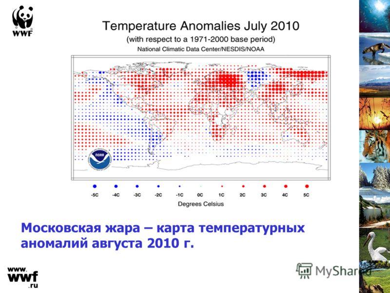 Московская жара – карта температурных аномалий августа 2010 г.